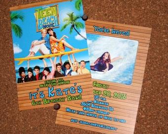 Set of 25 / Teen Beach Movie Birthday Invitation / Child Birthday / Surfers / Bikers