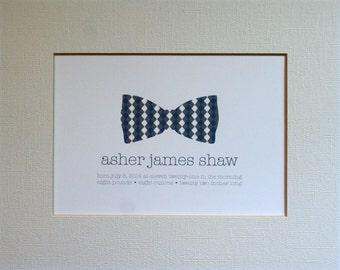 Custom New Baby Bow Tie Wall Art Print / Nursery Art / Birth Announcement / Bow Tie