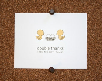 Duck Twins Baby Thank You Cards. Custom Ducks Twin Baby Shower Thank You Cards. Twin Baby Thank Yous. Personalized. Eggs in Nest (Set of 10)