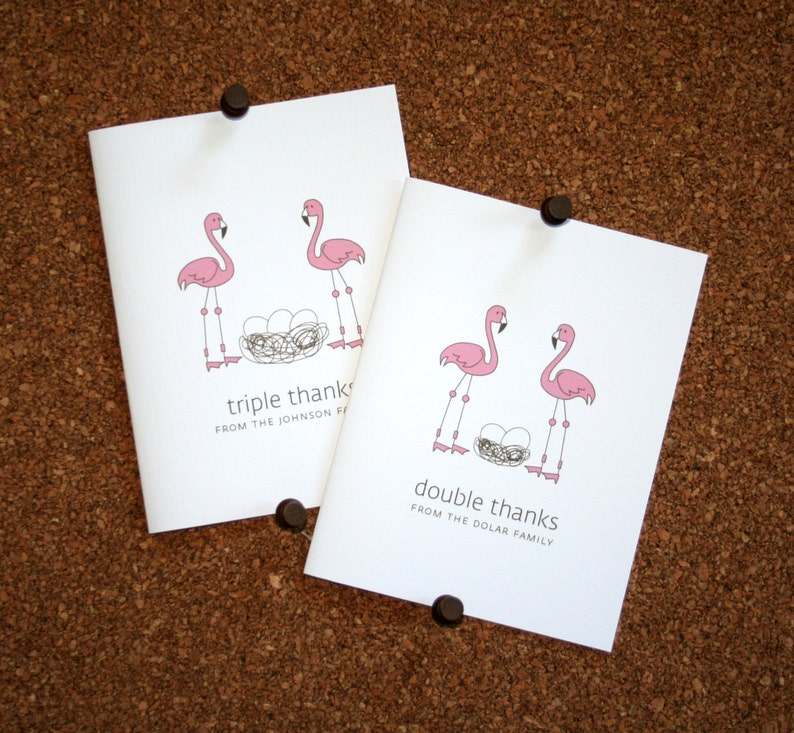 Custom Twin Baby Shower Thank You Cards Personalized Twin Baby Thank Yous Flamingo Twins Baby Thank You Cards Eggs in Nest Set of 10