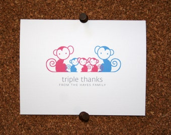 Monkey Triplet Baby Thank You Cards. Monkeys Triplets Baby Shower Thank You Cards. Baby Thank Yous. Personalized (Set of 10)