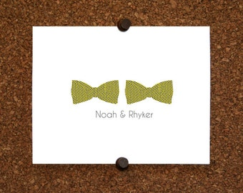 Twins Baby Bow Tie Thank You Note Cards. Custom Twin Bow Tie Stationery. Personalized Stationery. Bowtie (Sets of 10)