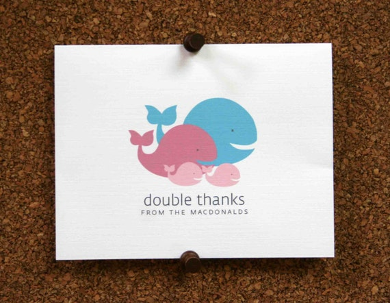Whale Baby Twins Thank You Cards Custom Whales Twin Baby Etsy