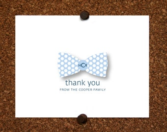 Baby Monogram Polka Dot Bow Tie Thank You Note Cards. Baby Bow Tie Monogram Stationery. Personalized Stationery. Bowtie Monogram(Sets of 10)