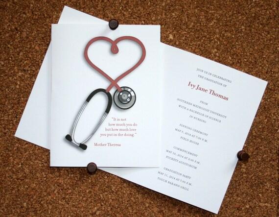 Nursing Graduation Announcement Set Of 10 Medical School Etsy