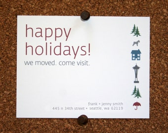 We Moved Cards. Happy Holidays We Moved Come Visit Postcard. Custom. Personalized (Set of 10)