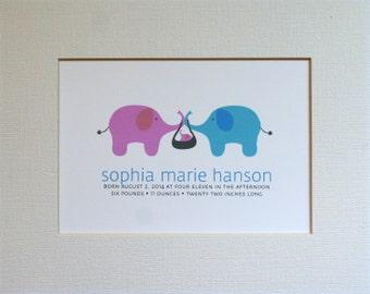 Custom New Baby Elephant Wall Art Print / Nursery Art / Birth Announcement / Elephants