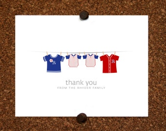 Twin Baseball Thank You Cards. Baseball Jersey. Baby Shower Stationery. Baby Thank Yous. (Set of 10)