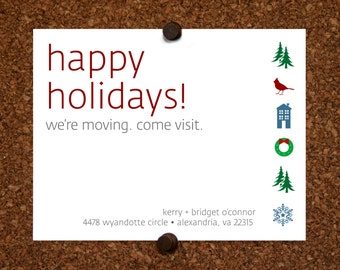 We Moved Cards. Virginia. Washington, DC. Happy Holidays We Moved Come Visit Postcard. Custom. Personalized (Set of 10)