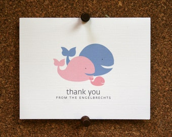Whale Baby Thank You Cards. Baby Shower Thank You Cards. Baby Thank Yous. Personalized Stationery (Set of 10)