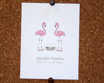 Flamingo Twins Baby Thank You Cards. Custom Twin Baby Shower Thank You Cards. Twin Baby Thank Yous. Personalized. Eggs in Nest (Set of 10)