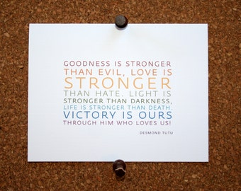 "Set of 10 / Inspirational Cards with Quote by Desmond Tutu ""Goodness is stronger than evil, love is stronger than hate..."""