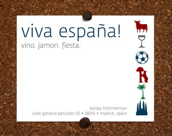 We Moved Cards. Europe. Spain. Espana. Happy Holidays We Moved Come Visit Postcard. Custom. Personalized (Set of 10)
