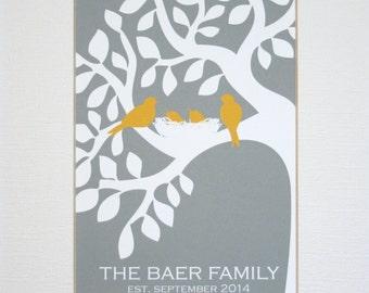Custom New Family Wall Art Print / Wedding Gift / Family Tree / Established / Birds in Tree