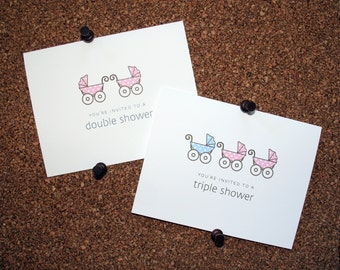 Triplet Baby Carriage Thank You Cards. Triplet Baby Shower Thank You Cards. Triplets Thank Yous. Personalized. Pram. (Set of 10)