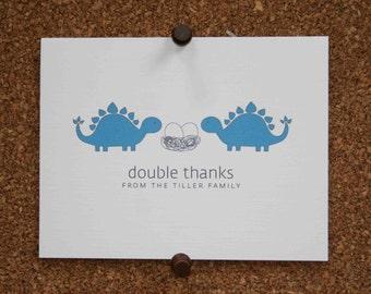 Dinosaur Triplet Baby Thank You Cards. Triplet Shower Thank You. Triplets Thank Yous. Personalized. Eggs in Nest. Stegosaurus (Set of 10)