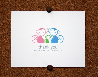 Monkey Baby Thank You Cards. Monkeys Baby Shower Thank You Cards. Baby Thank Yous. Personalized (Set of 10)