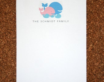 Set of 4 Personalized Notepads with Whales / Customized with Family Name / Custom Note Pad / Whale Family
