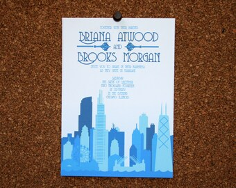 Digital File / Custom Chicago Skyline Invitation / Blue / Wedding / Event / Birthday / Bachelorette Party