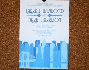Digital File / Custom New York City Skyline Invitation / Blue / Wedding / Event / Birthday / Bachelorette Party