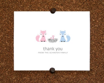 Fox Baby Thank You Cards. Baby Shower Thank You Cards. Baby Thank Yous. Personalized Stationery (Set of 10)
