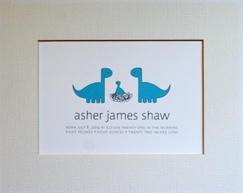 Custom New Baby Dinosaur Wall Art Print / Nursery Art / Birth Announcement / Dinosaur
