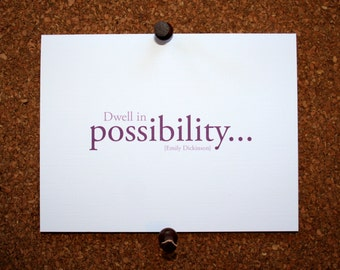 "Set of 10 / Inspirational Cards with Quote by Emily Dickinson ""Dwell in Possibility"""