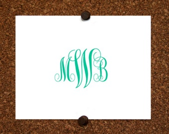 Custom Monogrammed Stationery. Thank You Note Cards. Personalized. Monogram (Set of 10)