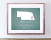 Unique Bridal Shower Gift - Personalized Chalkboard Wall Decor - Nebraska or Your Choice of State
