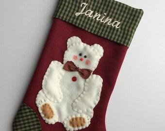 polar bear stocking stocking with polar bear polar bear christmas stocking christmas stockings stocking for boy stocking for girl