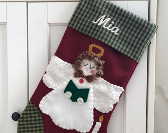 Angel Stocking, Christmas Stocking, Stocking with Angel, Girl Stocking, Angel Christmas Stocking, Stocking for Girl, Religious Stocking
