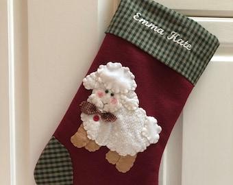 Lamb Stocking- Sheep Stocking- Religious Stocking- Christmas Stocking with Lamb- Stocking for Baby- Stocking with Name