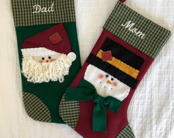 Stocking for Mom- Stocking for Dad- Matching Stockings- Stocking with name- Christmas Stockings Personalized- Santa and Snowman Stockings