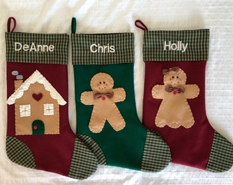 Gingerbread Stockings, Stocking with Gingerbread Man, Stocking with Gingerbread Girl, Stockings with Name, Stocking with  Gingerbread Family
