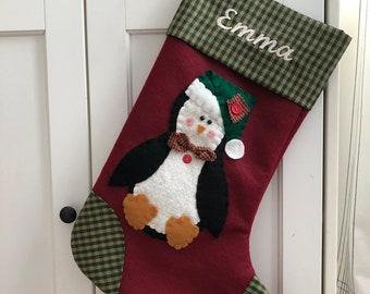 Penguin Stocking, Penguin Christmas Stocking, Stocking with Penguin, Boy Stocking, Girl Stocking, Christmas Stocking Personalized