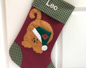 Cat Stocking, Cat Christmas Stocking, Stocking for Cat, Christmas Stocking for Cat, Cat Stocking Personalized