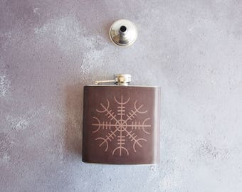 Ægishjálmur Leather flask, personalised rune hip flask Icelandic Stave hip flask, personalised viking rune custom wedding gift leather flask