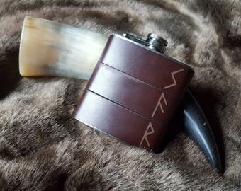 Norse rune hip flask, custom pagan flask personalised viking rune flask engraved hip flask gifts for vikings personalised leather hip flask