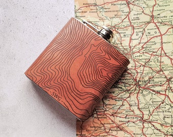 Custom  Map Contour Flask, Leather Hip Flask, Personalised Leather Whiskey Bottle  topography gift hiking flask mountain climbing gift