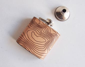 Topographic Map Leather Flask, Ben Nevis Hip Flask, Personalised Leather Whiskey Bottle topographic gift hiking flask mountain climbing gift