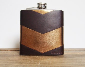Chevron leather flask, Personalized Hip Flask, gold and brown, limited edition rustic leather and Gold hide