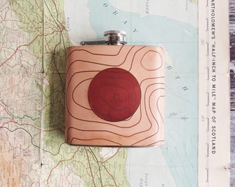 Map Hip Flask, Scafell Pike Flask, Personalized Mountain Whiskey Bottle  topographic gift hiking flask mountain climbing gift