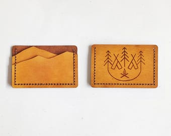 Leather Mountain Wallet, Personalised leather card holder, hand stitched wallet, camping gift, mountain man wallet boyfriend card holder