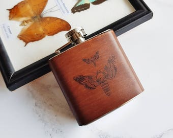 Moth Hip Flask, lepidoptera gift custom hip flask lepidopterist leather flask moth illustration gin flask engraved gift whiskey flask