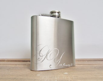 Personalised Hip Flask, Wedding Monogram, stainless steel flask