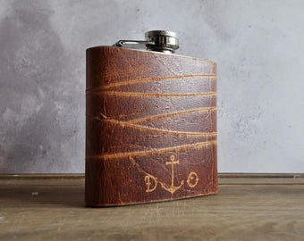 Personalised Sailor Hip Flask, Anchor and initialled leather flask, rum flask for pirates, personalized leather hip flask, customised flasks