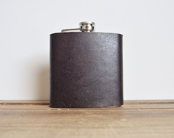 Peat Leather Flask, Full piece, genuine leather, personalized hip flask, custom gift