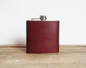 Custom Leather Flask Oxblood Genuine Leather personalised hip flask custom wedding gift groomsmen hip flask bridesmaid leather flask gift