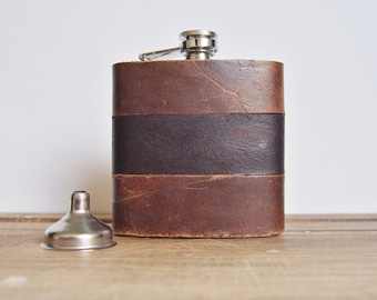 Personalised Leather Hip Flask, customised leather flask, personalized whisky flask, monogrammed hip flask for him leather anniversary gift