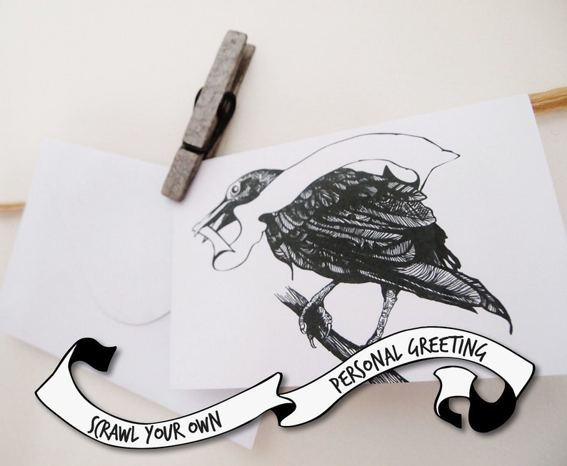 Raven Greeting Card Blank Greeting Banner Scrawl your own image 0